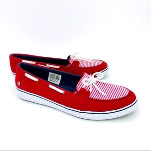 GRASSHOPPER by KEDS Red White Stripe Boat Shoes 9